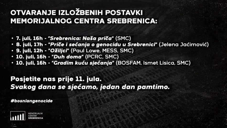 """<p>Memorijalni centar Srebrenica će u julu otvoriti nove četiri izložbe posvećene sjećanju na žrtve genocida u Srebrenici, koje će biti dijelom stalne postavke u budućnosti. Rezultat je to vrijednog istraživačkog rada ove institucije u posljednjih godinu dana, ali i partnerstava sa organizacijama i umjetnicima iz zemlje i svijeta.</p> <p>- Pozivamo sve zainteresovane da iskoriste period manje gužve u nekoliko dana prije Dana sjećanja na genocid u Srebrenici i dženaze 11. jula, te da posjete Potočare i upoznaju se s novim izložbama koje će biti predstavljene u tom periodu - poručio je kustos Memorijalnog centra Hasan Hasanović.</p> <p>Prva u nizu otvorenja novih izložbenih postavki je ona 7. jula od 16 sati, kada će javnosti biti predstavljena """"Srebrenica: Naša priča"""", prikaz sveobuhvatnog istraživanja, intervjua i pregleda oralne historije - sjećanja na opsadu i genocid u Srebrenici.</p> <p>-Zahvalni smo Vladi Ujedinjenog Kraljevstva koje je, putem projekta 'Istina, dijalog, budućnost', podržala postavku ove izložbe, zahvaljujući čemu sada imamo jedan savremeni prikaz i spoj svih sjećanja u tematske cjeline koje približavaju iskustvo Srebrenice posjetiocima - poručio je Hasanović, koji je i glavni autor izložbe.</p> <p>Nosioci istraživačkog rada izložbe """"Srebrenica: Naša priča"""", pored Hasanovića, bili su Ahmedin Đozić, Ahmo Mehmedović, Mahir Omerović, Lamija Grebo, Redžep Ustić, Džanuma Džinić, Almasa Salihović, Asima Hodžić i Lejla Avdić. Dizajn Vodiča uradio je dizajner Dino Hujić.</p> <p>-Veoma nam je bilo važno da zaokružimo istraživanje u kojem smo prikupili brojna svjedočenja. Ovo je generacijski projekat, on nam daje uvid u sjećanja ljudi, u različite perspektive, te će realizirano biti osnov za istraživanja u decenijama pred nama. Posebno sam ponosan što smo u ove aktivnosti uključili novu generaciju istraživača i mladih stručanjaka, koji su većinom dijelom povratničke zajednice u Srebrenici. To je još jedna poruka: preživjeli smo, potomci onih ubijenih u ge"""